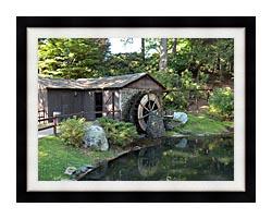 Brandie Newmon Rustic Water Mill Wheel canvas with modern black frame