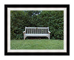 Brandie Newmon Scenic Park Bench canvas with modern black frame
