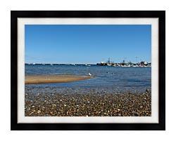 Brandie Newmon Provincetown Harbor canvas with modern black frame