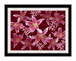 Brandie Newmon Lilies canvas with modern black frame