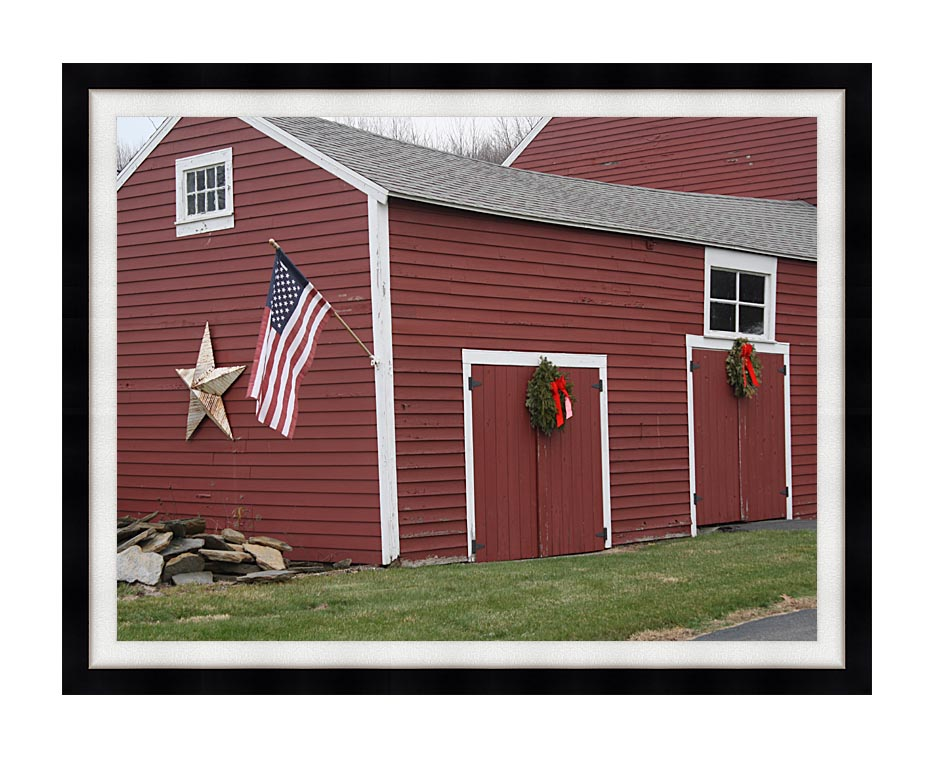 Kim O'Leary Photography Winter Red Barn with Modern Black Frame