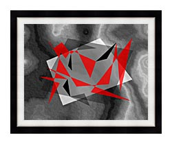 Lora Ashley Fragments Unite Red And Black canvas with modern black frame