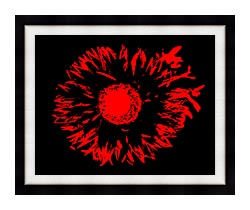 Lora Ashley Black And Red Flower Abstract canvas with modern black frame