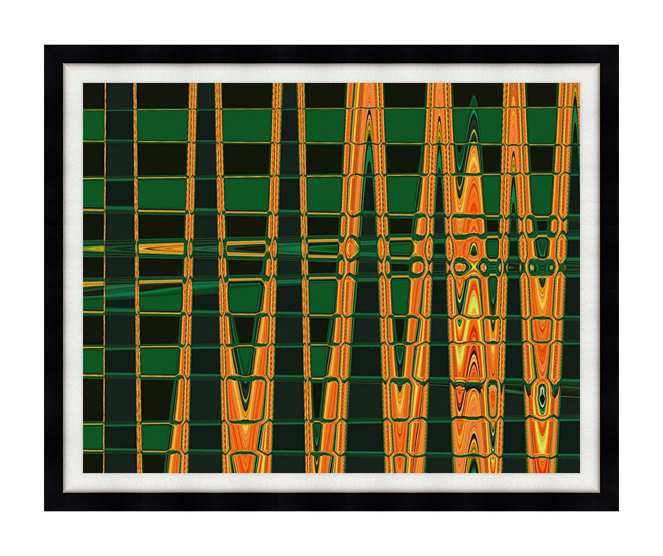 Lora Ashley Green and Orange Abstract with Modern Black Frame