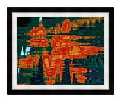 Lora Ashley Green And Orange Tapestry canvas with modern black frame