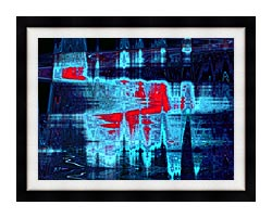 Lora Ashley Light In Blue And Red canvas with modern black frame
