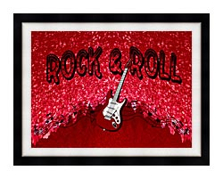 Lora Ashley Rock And Roll Guitar canvas with modern black frame