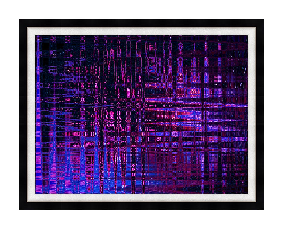 Lora Ashley Pink and Blue Light Show with Modern Black Frame