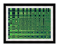 Lora Ashley Green And Blue Weave canvas with modern black frame