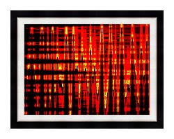 Lora Ashley Red Yellow And Black Abstract canvas with modern black frame