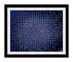 Lora Ashley Black And Blue Tapestry canvas with modern black frame