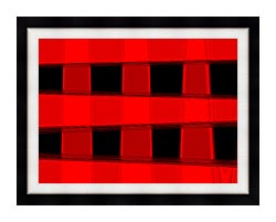 Lora Ashley Modern Black And Red Abstract canvas with modern black frame