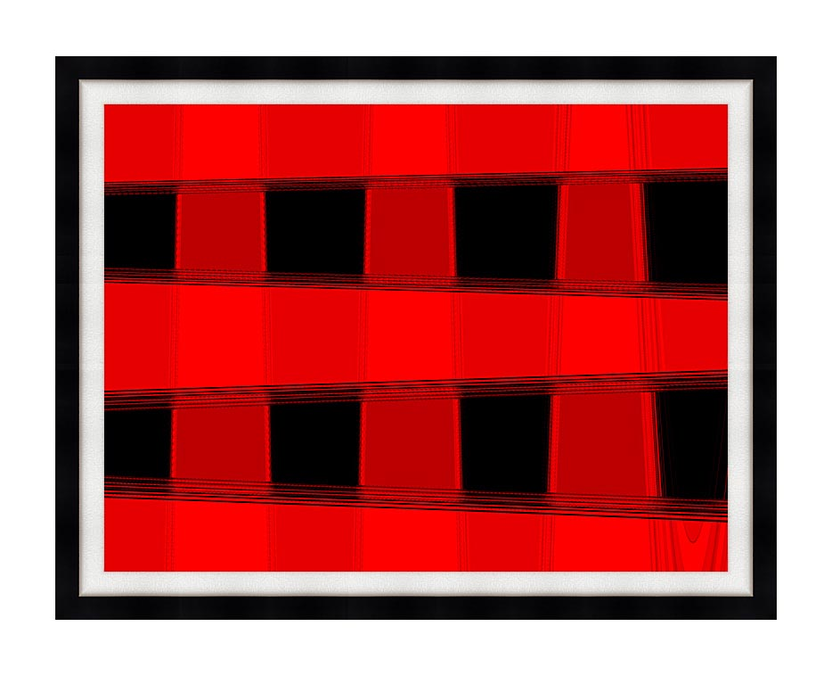 Lora Ashley Modern Black and Red Abstract with Modern Black Frame