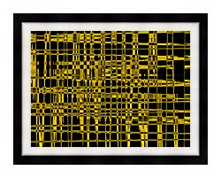 Lora Ashley Contemporary Yellow Abstract canvas with modern black frame