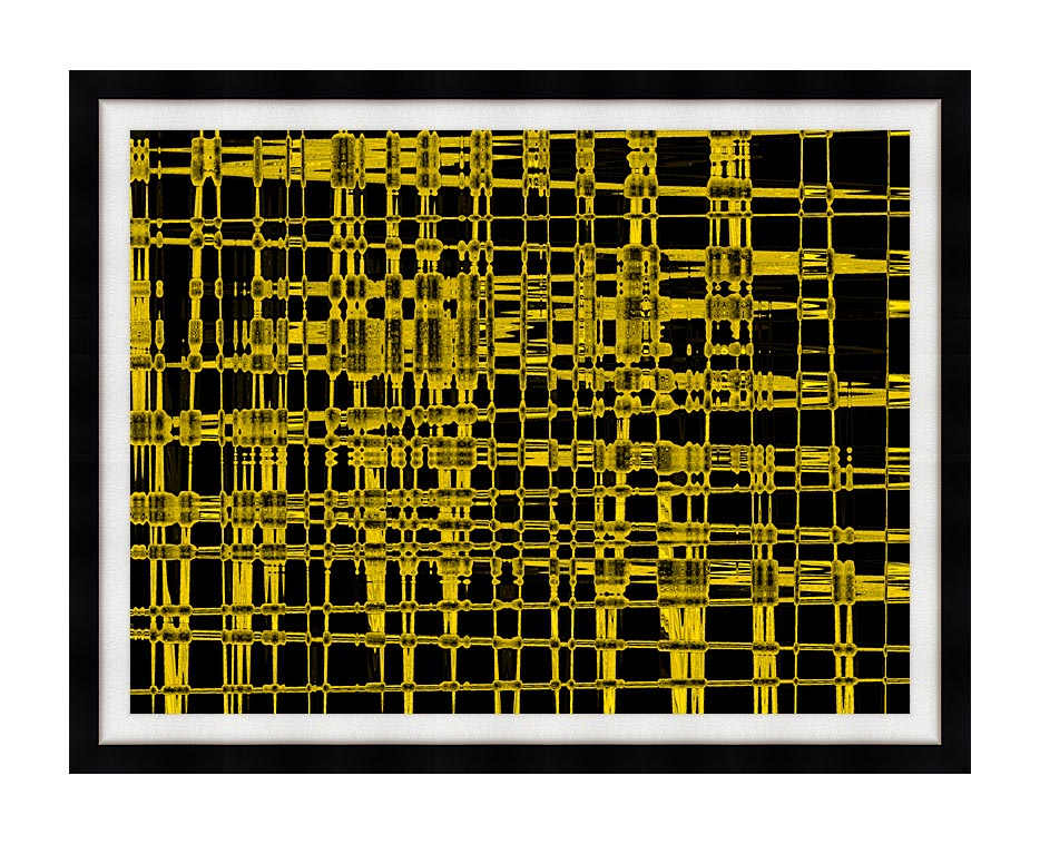 Lora Ashley Contemporary Yellow Abstract with Modern Black Frame
