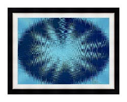 Lora Ashley Abstract Blue Flower canvas with modern black frame