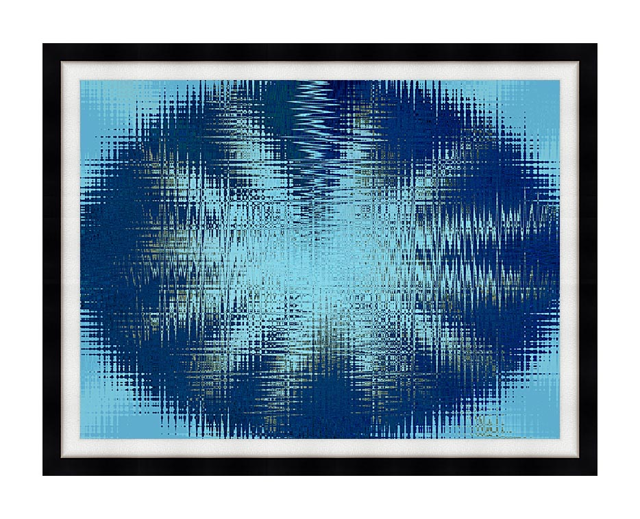 Lora Ashley Abstract Blue Flower with Modern Black Frame