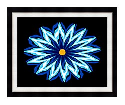 Lora Ashley Contemporary Blue Flower canvas with modern black frame