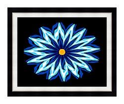 Lora Ashley Contemporary Blue Flower canvas with modern black frame