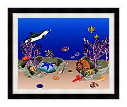 Lora Ashley Ocean Scene Underwater canvas with modern black frame