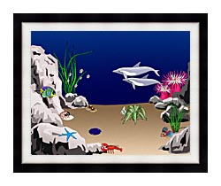 Lora Ashley Dolphins Swimming canvas with modern black frame