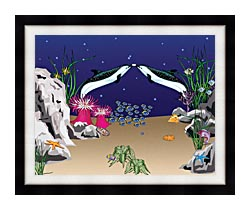 Lora Ashley Spotted Dolphins canvas with modern black frame