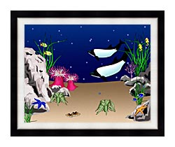 Lora Ashley Whales Swimming canvas with modern black frame