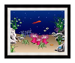 Lora Ashley Octopus Swimming canvas with modern black frame
