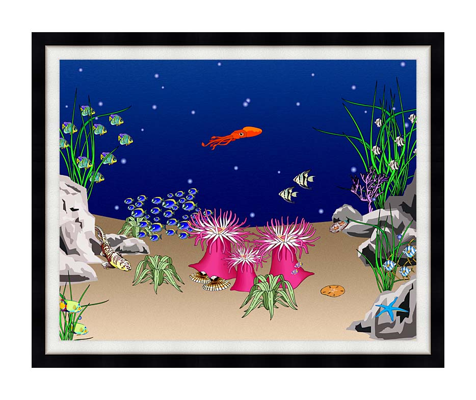 Lora Ashley Octopus Swimming with Modern Black Frame