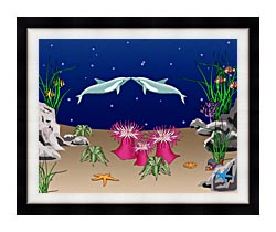 Lora Ashley Kissing Dolphins canvas with modern black frame