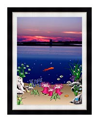 Lora Ashley Ocean Scene Above And Below canvas with modern black frame