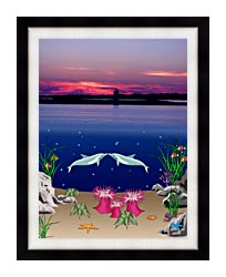 Lora Ashley Lighthouse Above Dolphins Below canvas with modern black frame