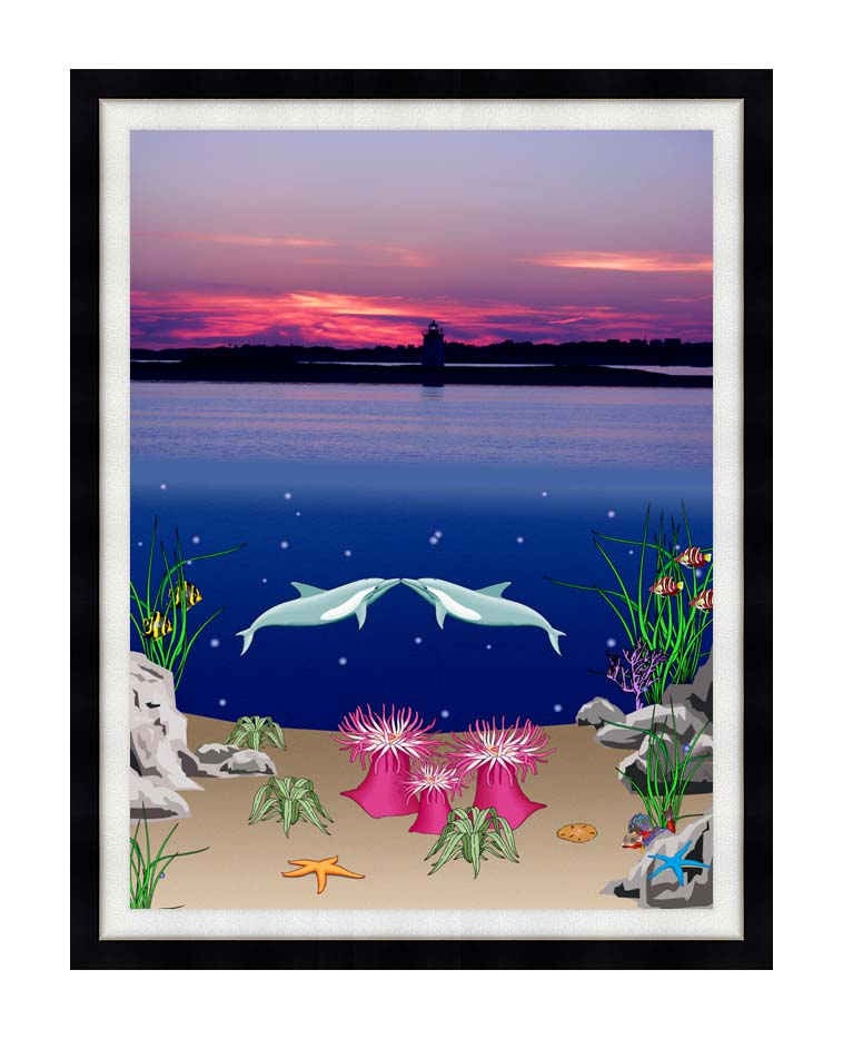 Lora Ashley Lighthouse Above, Dolphins Below with Modern Black Frame