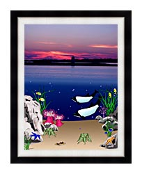 Lora Ashley Lighthouse Above Whales Below canvas with modern black frame