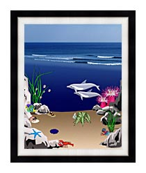 Lora Ashley Dolphins Below The Ocean Waves canvas with modern black frame