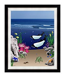 Lora Ashley Whales Below The Ocean Waves canvas with modern black frame