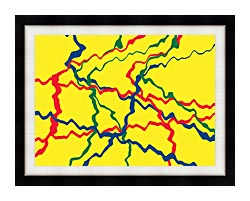 Lora Ashley Yellow Abstract canvas with modern black frame