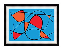 Lora Ashley Blue And Red Abstract canvas with modern black frame