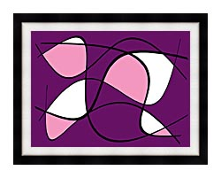 Lora Ashley Purple And Pink Abstract canvas with modern black frame
