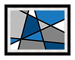 Lora Ashley Blue And Grey Abstract canvas with modern black frame