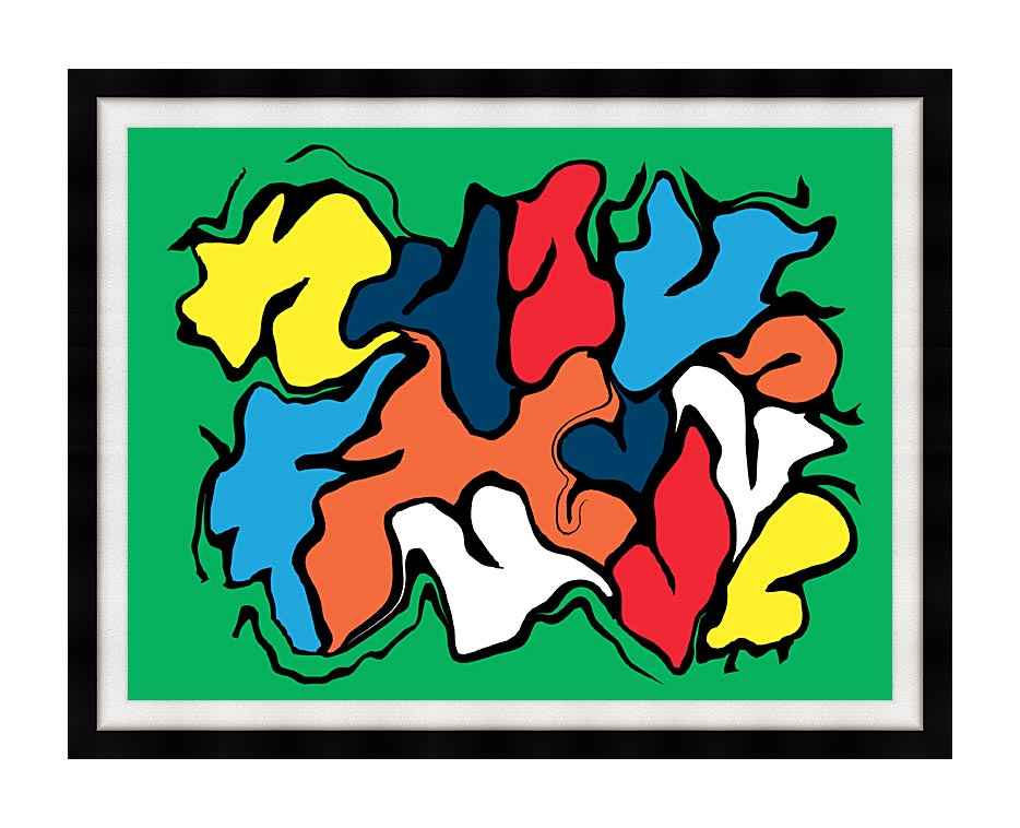 Lora Ashley Colorful Abstract with Modern Black Frame