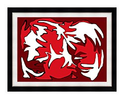 Lora Ashley Red And White canvas with modern black frame