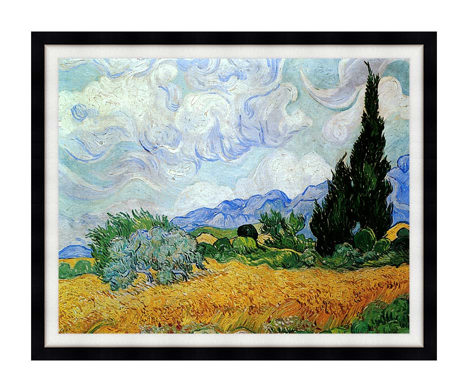 Vincent van Gogh Wheat Field and Cypress Trees (seen in the movie Vanilla Sky) with Modern Black Frame