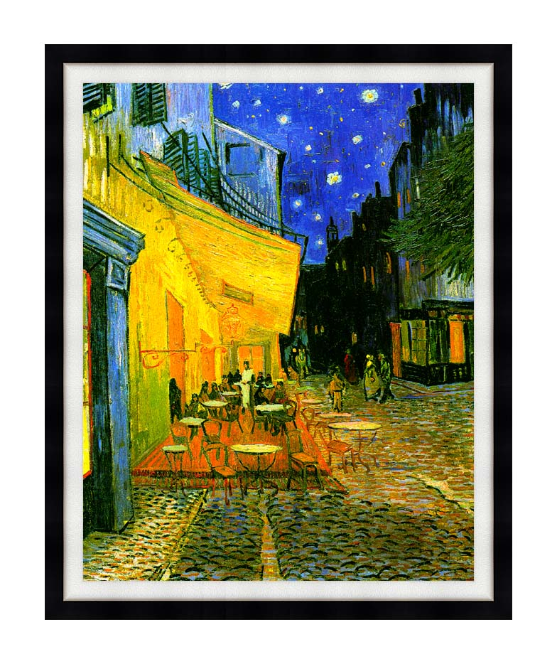 Vincent van Gogh Cafe Terrace at Night with Modern Black Frame