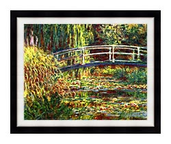 Claude Monet Water Lilies Pink Harmony canvas with modern black frame