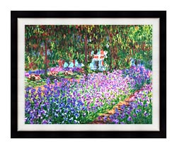 Claude Monet The Artists Garden At Giverny canvas with modern black frame