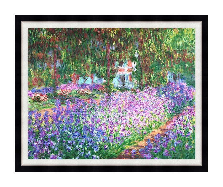 Claude Monet The Artist's Garden at Giverny with Modern Black Frame