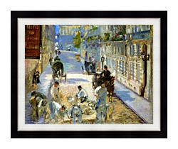 Edouard Manet The Rue Mosnier With Pavers canvas with modern black frame