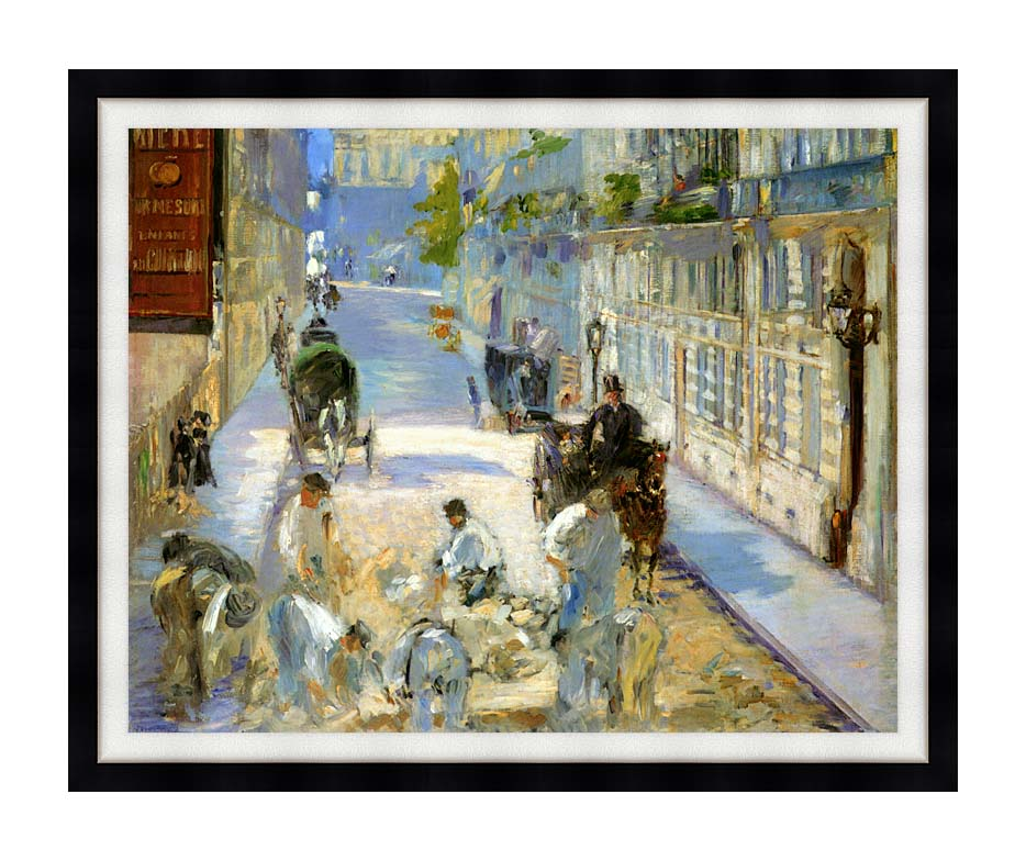 Edouard Manet The Rue Mosnier with Pavers with Modern Black Frame