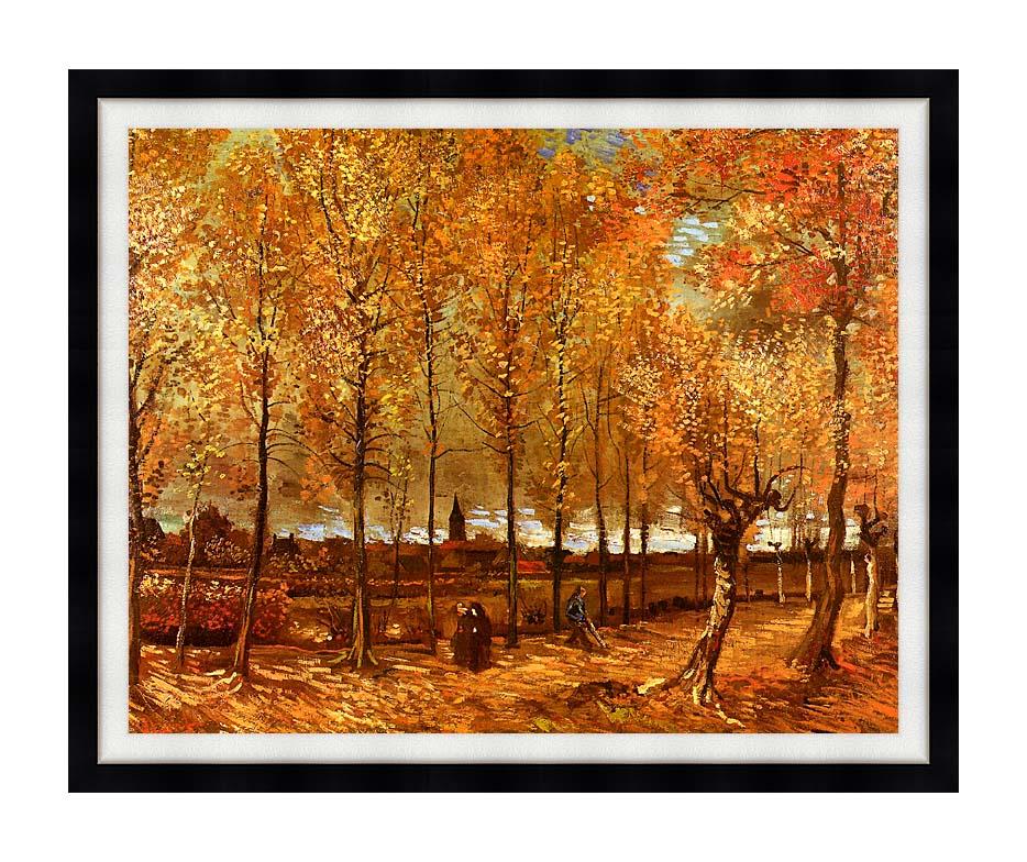 Vincent van Gogh Lane with Poplars with Modern Black Frame